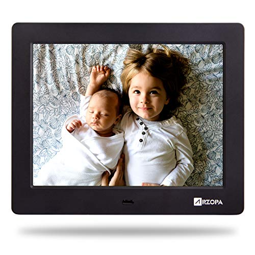 Digital Picture Photo Frame 8 inch Arzopa IPS High Resolution Widescreen Digital Photo Frame 1024×768 Support MP3 MP4 Videos and Pictures Player with Calendar Function and Remote Control Black