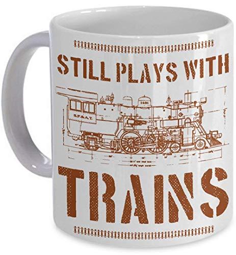 Still Plays With Trains Mug Model Railroad Locomotive