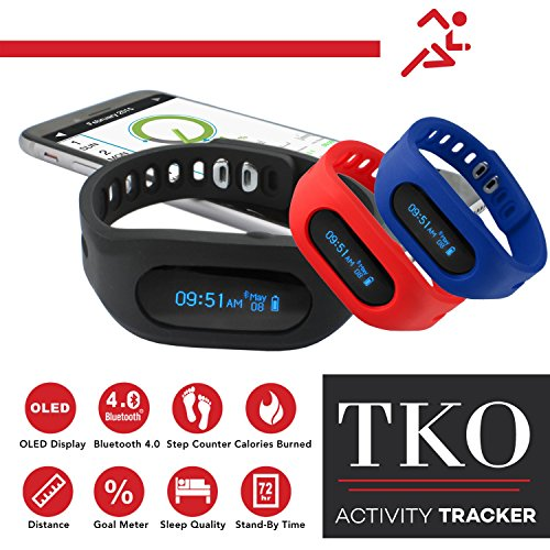 TKO Bluetooth Wireless Fitness Activity Tracker Smartwatch, Pedometer,Calories,Sleep Monitor with 3 Interchangeable Silicone Wristbands: Black, Blue, Red