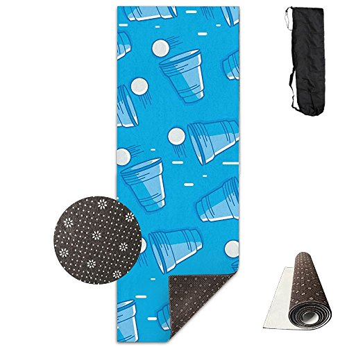 Gorgeously Non Slip Yoga Mat Beer Pong Pattern Premium Printed 24 X 71 Inches Great For Exercise Pilates Gymnastics Carrying Strap ()