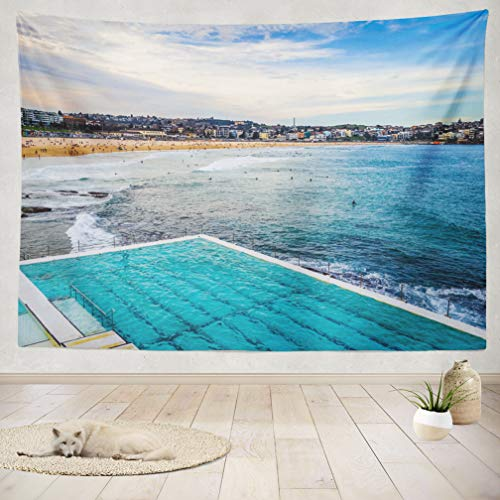 Pool Bondi Icebergs - ASOCO Tapestry Wall Handing Beach Landscape and Swimming Pool Australia Beach Australia Australian Blue Wall Tapestry for Bedroom Living Room Tablecloth Dorm 60X80 Inches