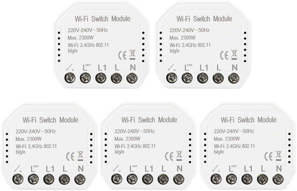 KKmoon Smart WiFi Switch Conmutador de Red Inteligente Interruptor de luz Inteligente con Alexa Google Home El Control Remoto WiFi Módulo de Interruptor de Bricolaje El Control Remoto Funciona *5