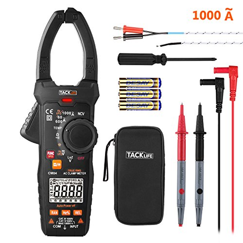 Ac Voltage Sensor (Digital Clamp Meter, 6000 Counts Tacklife CM04 Clamp Multimeter, AC Amp Meter 1000A, AC/DC Voltage Tester, Temperature Sensor, NCV VFD, Frequency, Duty Cycle, Resistance, Capacitance, Wire ON/OFF Test)