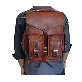 """Handoleatherco Vintage Leather Macbook Briefcase 2-in-1 Leather School Bag Backpack Rucksack 1 <p>Outside Measurements (In inches): 10 (Length) x 13 (Height) x 4.5 (Deep) · Inside Measurements (In inches): 10 (Length) x 13 (Height) x 4.5 (Deep) · Weight: 1.0 kgs/ 2.5 Lbs (approx) · Front: 2 small pockets and 1 zipper pocket · Side: 2 small pockets · Inside: 1 zipper pocket, 3 padded compartments · 1.5"""" wide and 70"""" long adjustable leather shoulder strap with hand carry Material Used'- · Genuine Goat Leather Processed, no bad smell · Naturally tanned with sunflower oil only, no use of dye or chemicals · Genuine Nickle Polished Solid Steel Accessories · Inside is lined with sturdy but soft canvas Outside Measurements (In inches): 10 (Length) x 13 (Height) x 4.5 (Deep) Inside Measurements (In inches): 10 (Length) x 13 (Height) x 4.5 (Deep) · Weight: 1.0 kgs/ 2.5 Lbs (approx) · Front: 2 small pockets and 1 zipper pocket · Side: 2 small pockets · Inside: 1 zipper pocket, 3 padded compartments · 1.5"""" wide and 70"""" long adjustable leather shoulder strap with hand carry Material Used'- · Genuine Goat Leather Processed, no bad smell · Naturally tanned with sunflower oil only, no use of dye or chemicals · Genuine Nickle Polished Solid Steel Accessories · Inside is lined with sturdy but soft canvas</p>"""