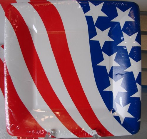 Serves 8! Independence Day American Flag 36 Pc. Square PAPER Plates & Napkins Set, C.R. Gibson, Patriotic Red, White & Blue, Stars and Stripes, 4th of July