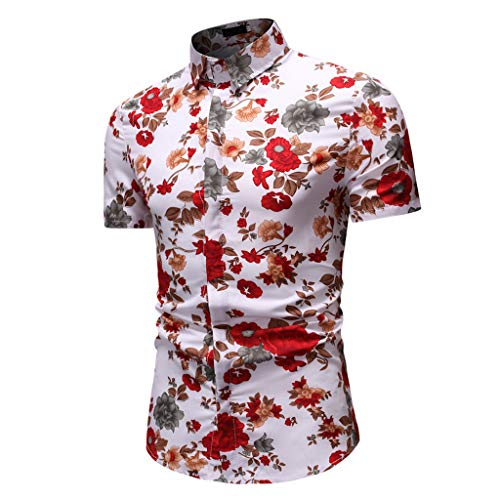 iHPH7 Top Blouse Fashion Casual Button Hawaii Print Beach Short Sleeve Quick Dry Men (3XL,Multi Color)