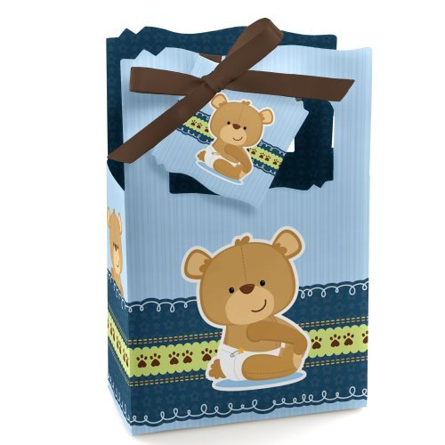 Boy Baby Teddy Bear - Baby Shower or Birthday Party Favor Boxes - Set of 12