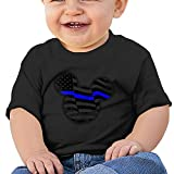 Quxueyuannan Thin Blue Line USA Flag Patriotic Police Washed Cotton Baby Boy Shirt Cute Summer T Shirt Funny