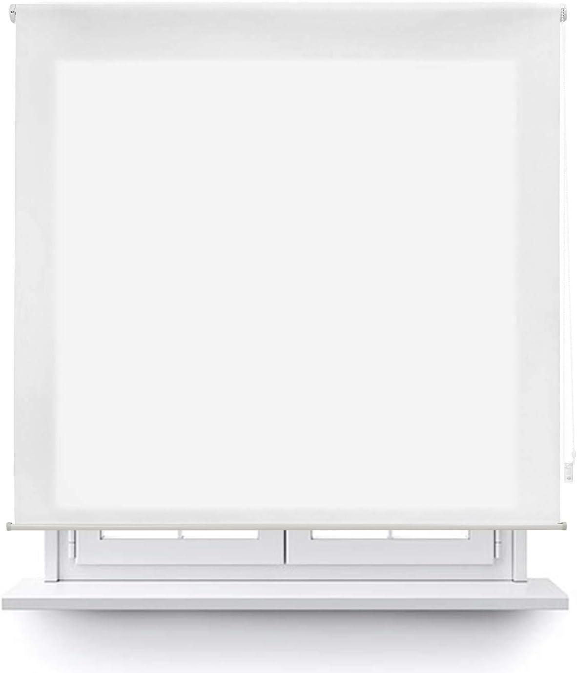 MERCURY TEXTIL Estor Enrollable translúcido Liso (Blanco, 135x180cm)