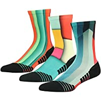 HUSO Unisex Fashion Digital Printing Sports Crew Hiking Socks 3, 4, 7 Pairs