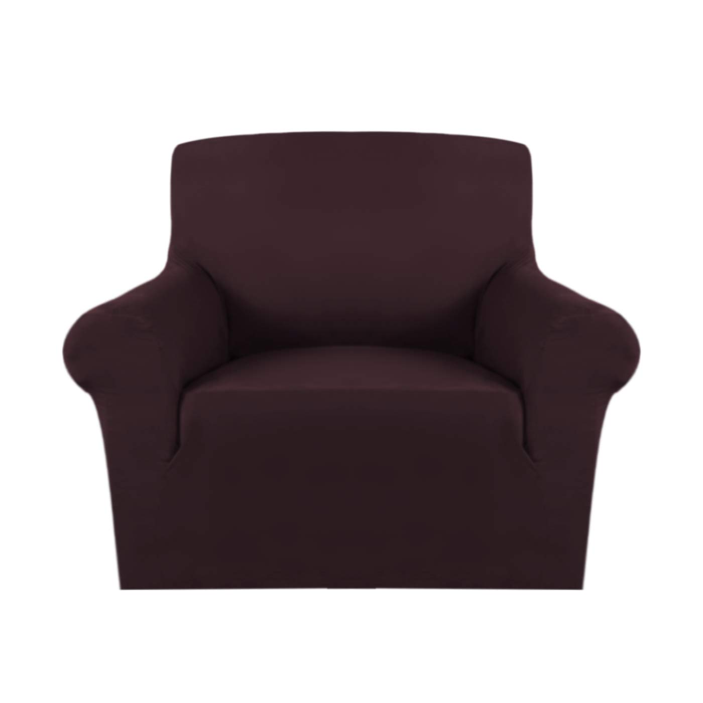 H.VERSAILTEX Super Stretch Stylish Furniture Cover/Protector Featuring Suede Fabric, Modern Plush Slipcover Machine Washable/Skid Resistance (One Seater Chair, Brown)