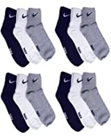 EASY4BUY Pack Of 12 Pairs Socks With NiKE Logo Sports Ankle Length Cotton Towel Socks