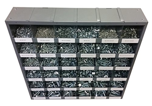 2830 Piece Metric Thread Bolt (Hex Head Cap Screw), Nut, and Washer Assortment with 36 Hole Bin by Agriline Supply
