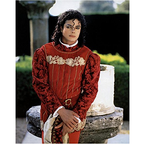 Michael Jackson 8 inch x 10 inch Photo Wearing Red Prince Charming Type Costume kn