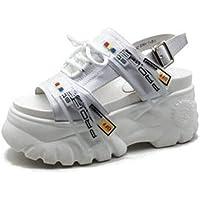Zapatos de Sandalias Ligeros Casuales para Damas de Mujer Hebilla Delgada Tacón Alto Summer Beach Punta Abierta Zapatos con Plataforma Suela de Goma Sandalias Deportivas Pu Tacones de Plataforma Ta