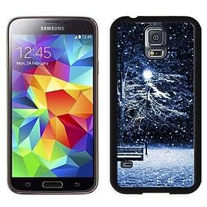 NEW Unique Custom Designed Samsung Galaxy S5 I9600 G900a G900v G900p G900t G900w Phone Case With Snow Park Bench Light Pole_Black Phone Case wangjiang maoyi by lolosakes