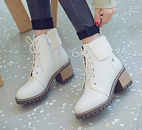 Charm Foot Womens Comfort Lace Up Zipper Chunky High Heel Short Boots White ZNGlo0