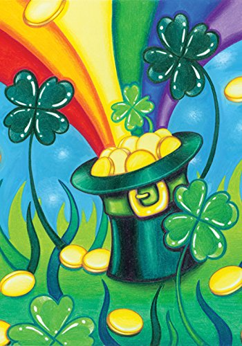 Toland Home Garden Hat 'O Gold 28 x 40 Inch Decorative Shamrock Rainbow Pot Gold St Patrick's Day Clover House Flag -