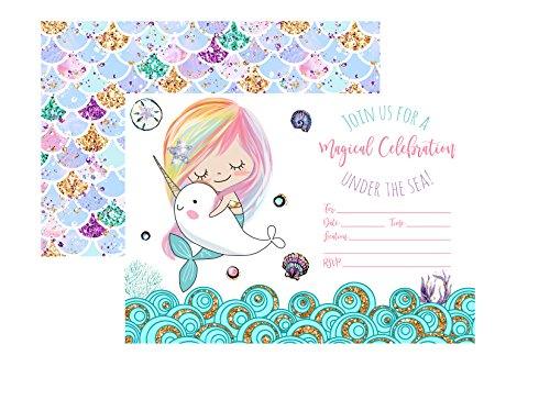 Silly Goose Gifts Magical Celebration Mermaid Narwhal Under The Sea Party Supply (Invite) -