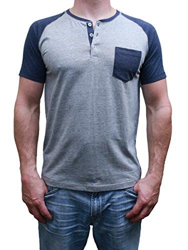 Short Sleeve Mens Raglan Henley TShirt w / Pocket, Premium Heather / (Baseball Henley Shirt)