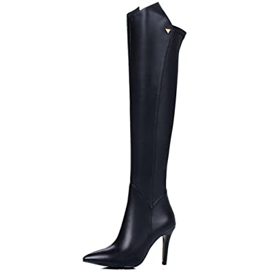 5eec549cd53 Nine Seven Genuine Leather Women's Pointed Toe Stiletto Heel Handmade Above  The Knee Boots