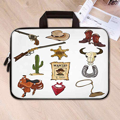 - Western Anti Seismic Neoprene Laptop Bag,Cartoon Style Collection of Old Wild West Icons Sheriff Shotgun Saddle Cactus Print for Travel Office School,15.4''L x 11''W x 0.8''H