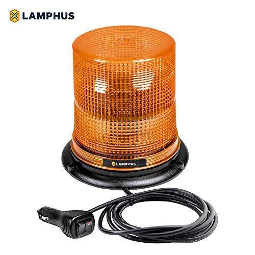 LAMPHUS Aura 7 12W LED Beacon Warning Strobe Light [SAE Class 1] [38 Flash/Rotate Patterns] [9 Cigarette Lighter Adapter] Warning Emergency Vehicle Lights for Cars & Trucks - Amber