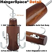2, Natural 2 Pack Swivel Hook Easy On//Off Space Saving Organizer Sturdy Wood Holder for Scarves Belts HangerSpace Belt Tie Rack Scarf Hanger for Closet Ties and Accessories