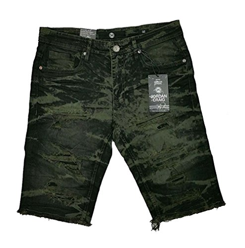 Jordan Craig Cut Off Jean WASH Short Denim Ripped (38, Army Green)