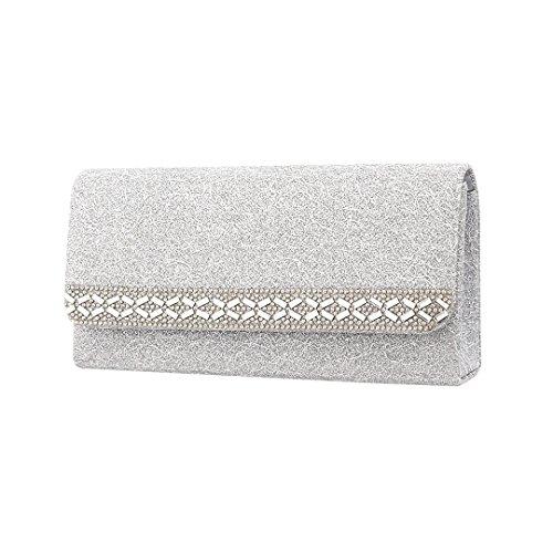 Novias Boutique - Cartera de mano para mujer Plateado plata plata