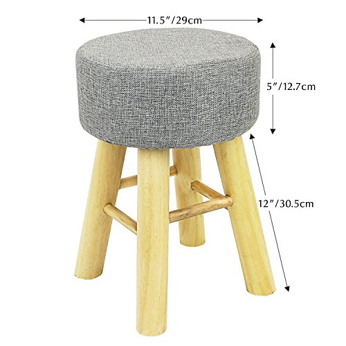 Jerry & Maggie - Footstool Fabric Ottomans Bench Seat Foot Rest Step Stool with Feet Protection Design | Round - Long 4 Legs - Light Grey by Jerry & Maggie (Image #1)