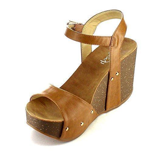 Refresh Mara-06 Womens Ankle Strap Comfort Wide Band Platform Wedge Sandals, Tan, (Band Platform Sandal)