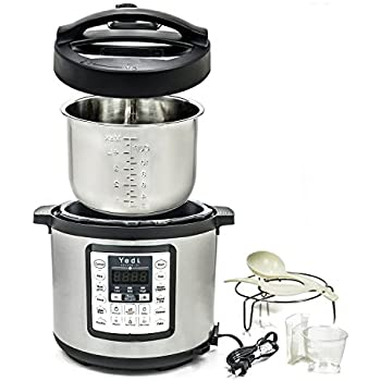 Multi-Use Programmable Pressure Cooker, 6 Quart, Stainless Steel by Yedi Houseware