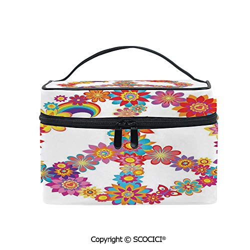 Printed Makeup Bag Organizer toiletry bag Colorful Peace Flower Symbol Nature Youthful Flourishes Festive Happiness Hippie Art Decorative for Girls Ladies