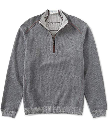 Tommy Bahama Mens Reversible Flipsider 1/2 Zip Pullover (X-Large, Carbon Grey -