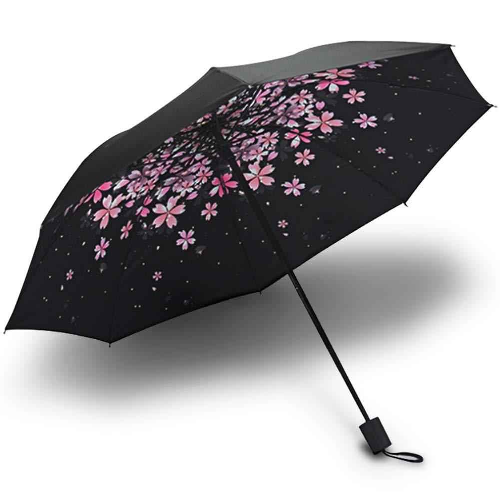 LAIX 折りたたみトラベルリバース傘 チェリーブロッサム ミニ軽量サンレイン傘 UV保護 ポータブルコンパクトデザイン 女性用   B07MNWRWXB