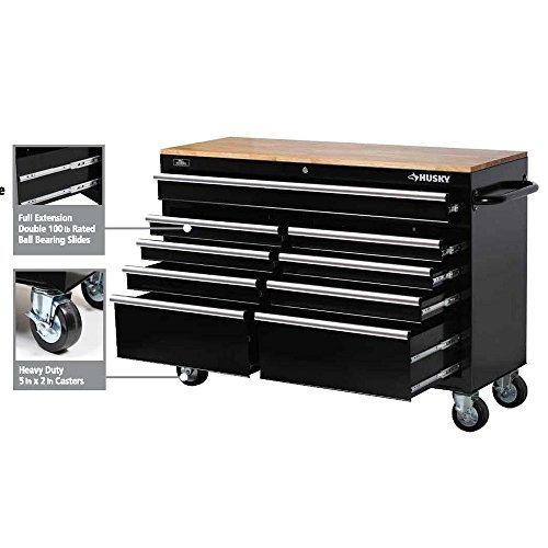 Husky 46 in. 9-Drawer Mobile Workbench with Solid Wood Top, Black by Husky (Image #5)