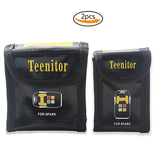 Teenior Lipo Safety Guard Bag Battery Storage Bag Set Pouch Cover Fire Resistant Explosionproof for DJI Spark, Set of 2