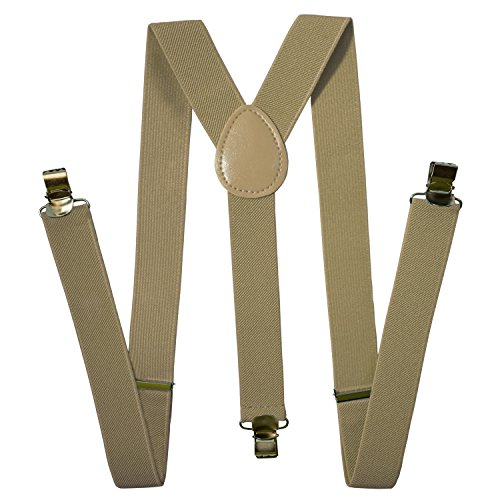 Suspenders Men - Stylish - Adjustable Solid Straight Clip by Action Ward (Sandal) ()
