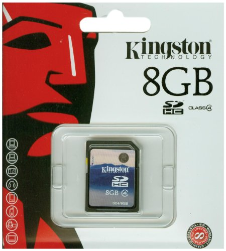 (Kingston 8 GB Class 4 SDHC Flash Memory Card SD4/8GB)