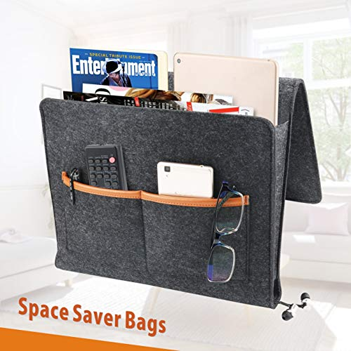 Idefair Bedside Caddy, Large Size 13.5 x 11.8 inch Bed Beside Storage Organizer Sofa Desk Felt Hanging Organizer Bag with Cable Holes and Pockets for Remotes Books Magazine Tablet Phone - Black