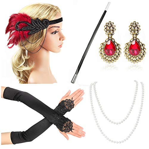 Beelittle 1920s Accessories Headband Earrings Necklace Gloves Cigarette Holder (D4)