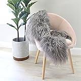 Genuine Long hair shaggy grey gray Icelandic Sheepskin Fur Hide pelt throw rug nursery Premium Quality