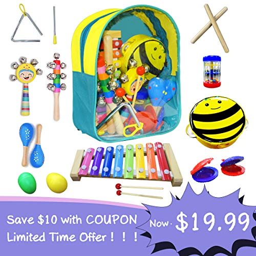 CACA Musical Instrument Set Kids Gift Toys Include Xylophone Bells Maracas Percussion Toys, Preschool Backpack Learning Toys for Child Children Party