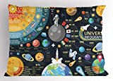 Lunarable Outer Space Pillow Sham, New Horizons of Solar System Infographic Pluto Venus Mars Jupiter Skyrocket, Decorative Standard Size Printed Pillowcase, 26 X 20 Inches, Multicolor