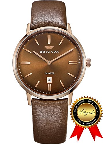 BRIGADA Brown Swiss Watches for Men, Nice Brown Business Casual Waterproof Men's Watch, Great Gift for Families, Lover, Friends or Yourself