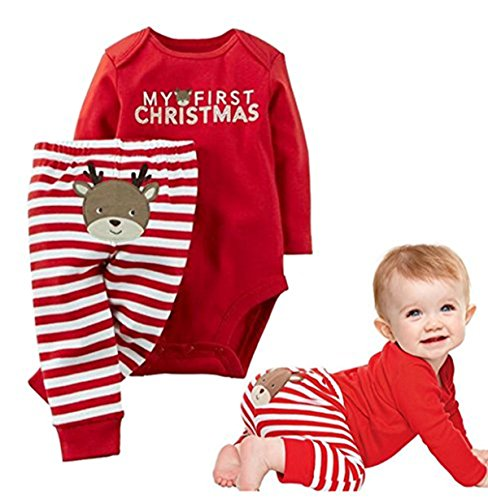 2Pcs Newborn Baby Boys Girls My First Christmas Letters Print Romper T-shirt+Deer Striped Pants Set (6-12Months/80cm, Red)