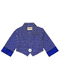 Secretly Spoiled Girls' Polka Dot Crop Jacket with Contrasting Cuffs 7 Navy