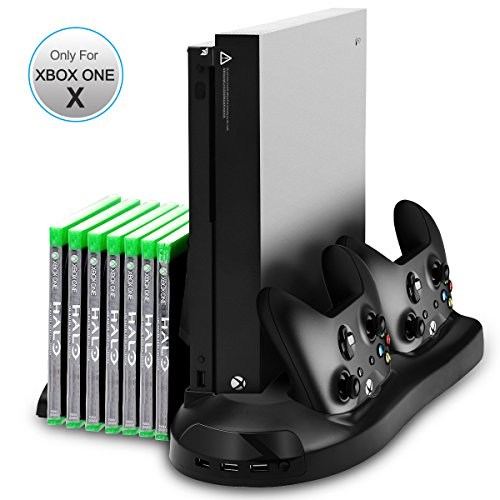 Xbox One X Stand, Sotical Veamor Xbox One X Vertical Stand Cooling Fan Controller Charger Station With 7 Game Discs Storage & 3 USB Hubs Port