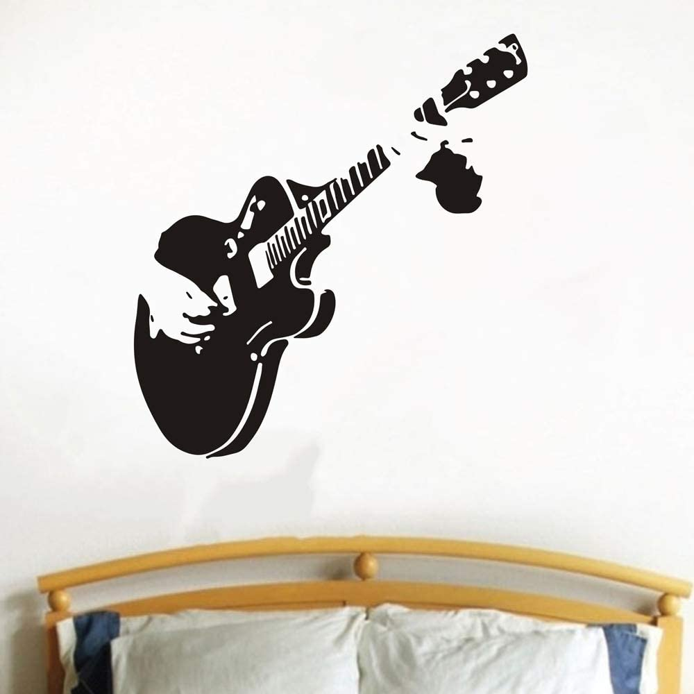 Creatiee Pro Guitar Rock Star Decal Wall Decor Sticker Removable Diy Vinyl Wall Decor Art Mural For Kids Children Living Room Bedroom Family Decor Unique Amazing Home Kitchen